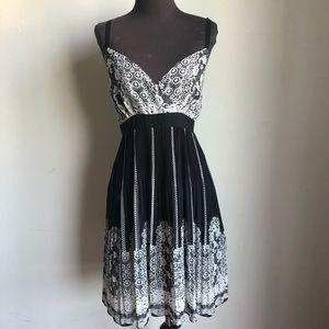 Inc sz 14 black white cute floral flare dress